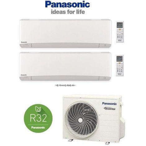 PANASONIC Multi Split ETHEREA Weiß 2 x 3,5kW Klimaanlage Wärmepumpe R32 2 Räum
