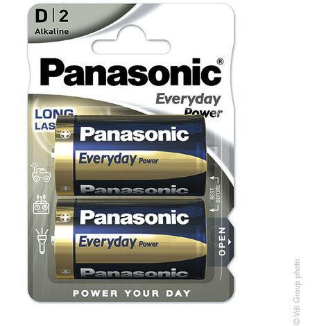 Panasonic - Pile alcaline blister x2 Panasonic Everyday Power LR20 - D 1.5V 19.7Ah