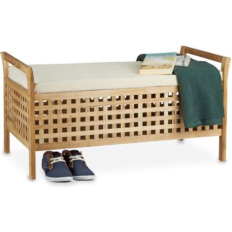 Panca contenitore in legno noce, rivestimento lino, misure 46,5 x 92,6 x 49,0 cm, seduta rivestita in lino, con spazio di archiviazione sottostante, colore naturale 46,5 x 92,6 x 49,0 cm