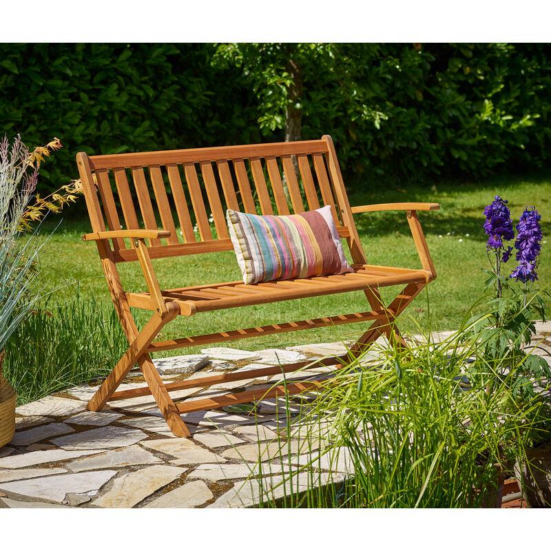 Panca da giardino pieghevole in legno di eucalipto panchina da esterno certificato FSC® per 2 panche pieghevoli - Deuba