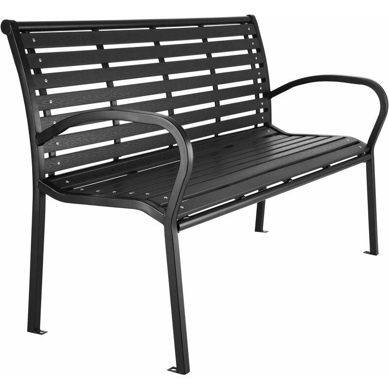 Tectake - Panca da giardino Pino - panchina da esterno, panca giardino, panchina per esterno - nero - schwarz