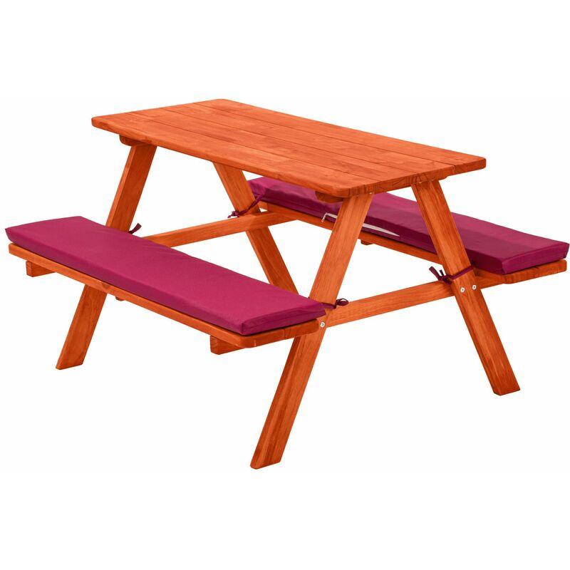 Panca da picnic per bambini con cuscini - arredo giardino, arredamento da giardino, set da giardino - rosso