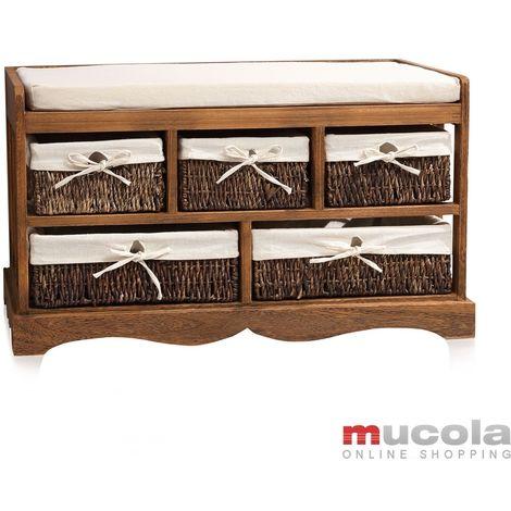 panca d'epoca di cassettiera corridoio panca Shabby Chic brown chest of drawers sgabello