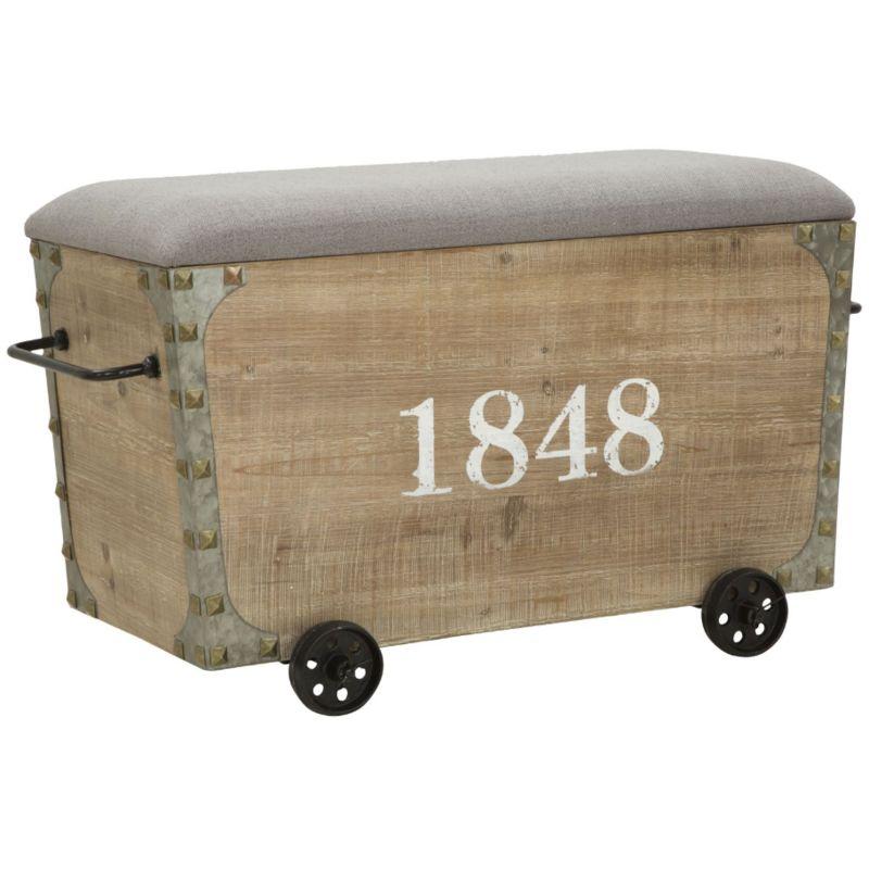 Panca Con Contenitore.Panca Panchina Con Contenitore In Legno E Ferro Beige Da Interno Industrial 1848