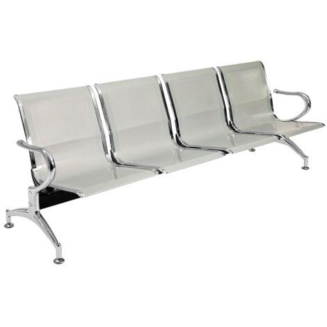 Panca per sala o giardino in acciaio forato a quattro posti - sedute da esterno sedie attesa studio