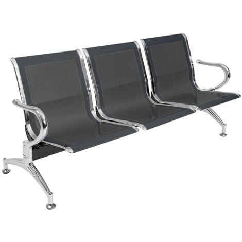 Panca per sala o giardino in acciaio forato a tre posti colore nero - sedute da esterno sedie attesa studio