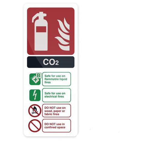 Pancarte de sécurité autocollante 202 x 82 mm Extincteur au CO2 EN3 - 319626 - Fixman - -