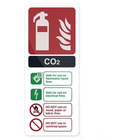 Pancarte de sécurité rigide 202 x 82 mm Extincteur au CO2 EN3 - 683625 - Fixman - -