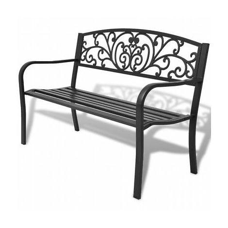 Panchina in Ghisa//Acciaio Giardino Grigio Antracite Midlland 128x56x85 H cm