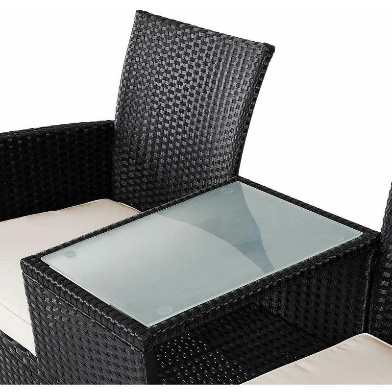 Panchina da Giardino in Rattan con Tavolo centrale in vetro Con Cuscini Nera