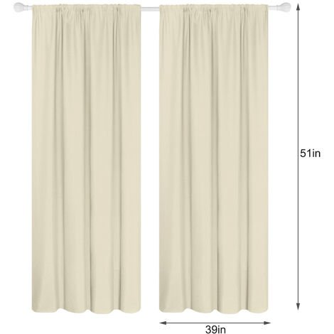 Panel 2 semi cortinas opacas cortinas de la sala moderna oscurecimiento aislada termal Diseno Ventana Ojal, beige, 39W X 51L en