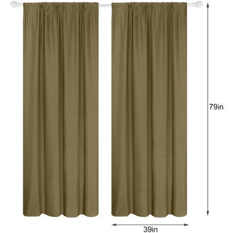 Panel 2 semi cortinas opacas cortinas de la sala moderna oscurecimiento aislada termal Diseno Ventana Ojal, cafe, 39W X 79L en