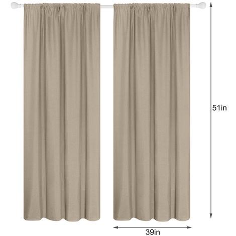Panel 2 semi cortinas opacas cortinas de la sala moderna oscurecimiento aislada termal Diseno Ventana Ojal para el dormitorio sala de estar (39 * 51in), Camel, 39W X 51L en