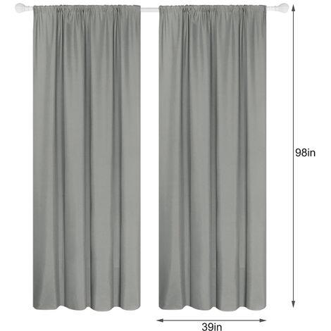 Panel 2 semi cortinas opacas cortinas de la sala moderna oscurecimiento aislada termal Diseno Ventana Ojal para el dormitorio sala de estar (39 * 98in), gris, 39W X 98L en