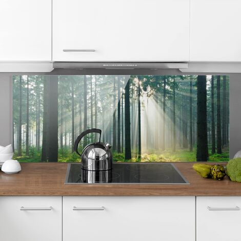 Panel antisalpicaduras de cristal - Enlightened Forest - Panorámico Dimensión LxA: 40cm x 100cm