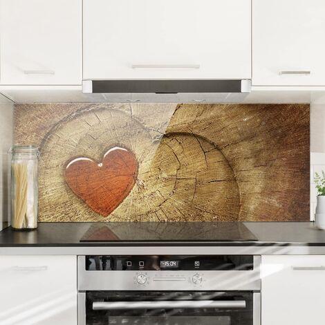 Panel antisalpicaduras de cristal - Natural Love - Panorámico Dimensión LxA: 40cm x 100cm