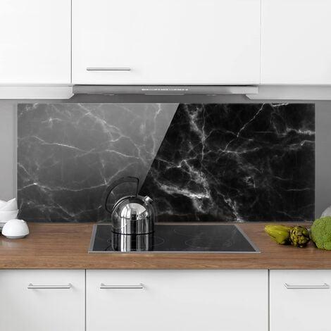 Panel antisalpicaduras de cristal - Nero Carrara - Panorámico Dimensión LxA: 40cm x 100cm