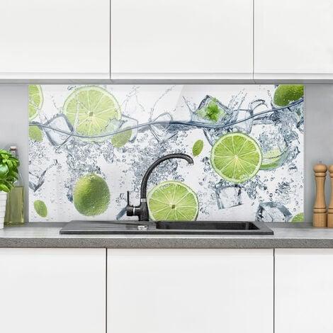 Panel antisalpicaduras de cristal - Refreshing lime - Horizontal 1:2 Dimensión LxA: 40cm x 80cm