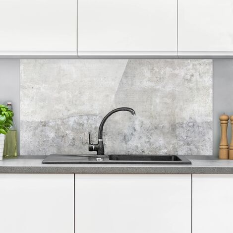 Panel antisalpicaduras de cristal - Shabby Concrete Look - Horizontal 1:2 Dimensión LxA: 40cm x 80cm