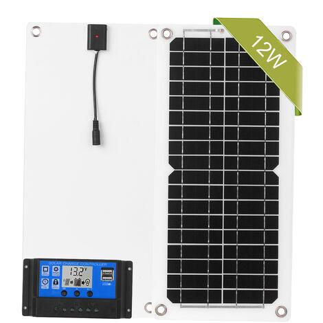 Panel de 12W 12V Kit Solar con el puerto de conexion a la red del modulo monocristalino del controlador de carga USB, la conexion SAE Kits de Cables de camping car marina del barco