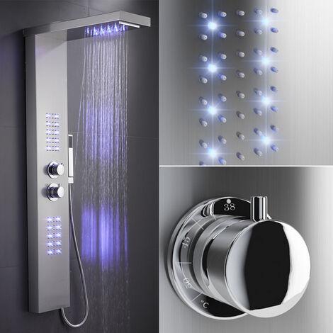 Panel de ducha con termostato LED Iluminación Cascada Ducha de lluvia Parte superior extraíble Acero inoxidable cepillad22x45x125cm