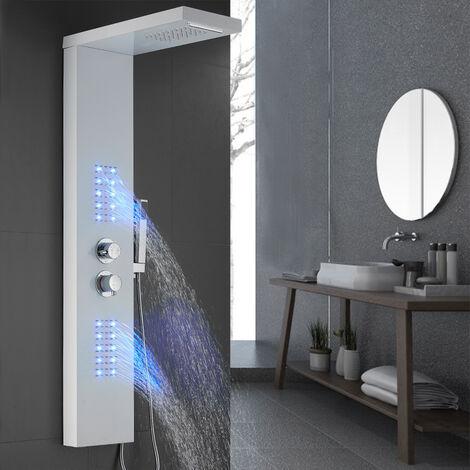 Panel de ducha con termostato LED Iluminación Cascada Ducha de lluvia Parte superior extraíble Blanco 22x45x125cm