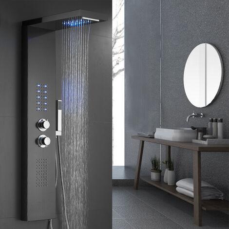 Panel de ducha con termostato LED Iluminación Cascada Ducha de lluvia Parte superior extraíble Negro 22x45x125cm