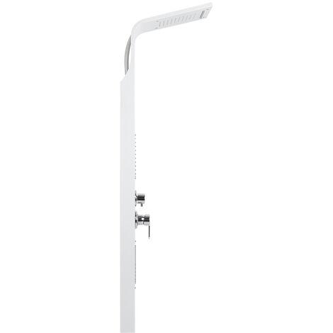 Panel de ducha de acero inoxidable Columna de ducha blanca con cómoda ducha de lluvia con masaje