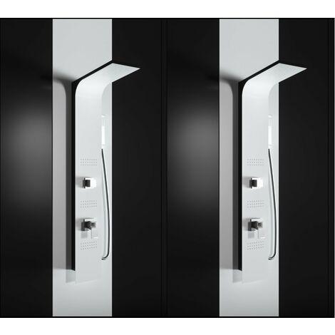 Panel de ducha de hidromasaje en ABS con recubrimiento de polvo negro mate (lateral) y blanco mate (frontal) PRODUCTO (GIO.18)