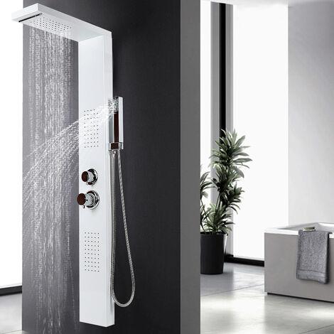 Panel de ducha en acero inoxidable 4 funciones lluvia, cascada, chorros de masaje blanco