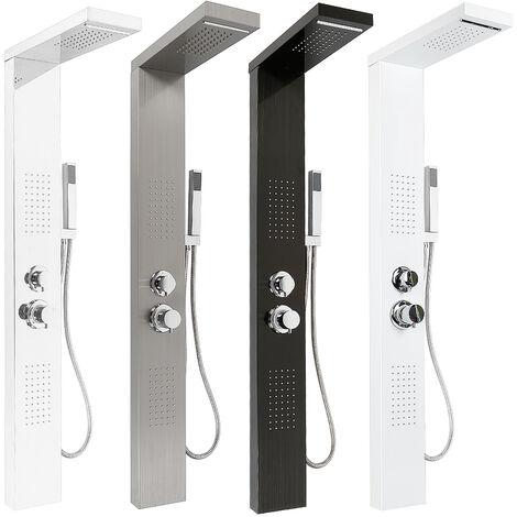 Panel de ducha en acero inoxidable 4 funciones lluvia, cascada, chorros de masaje espejo plateado