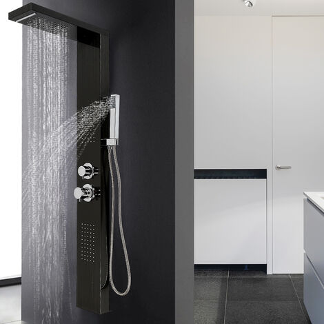 Panel de ducha en acero inoxidable 4 funciones lluvia, cascada, chorros de masaje negro