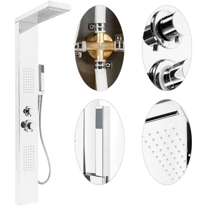 acero inoxidable con ducha de mano,Modos multiples Columna de ducha,Hidromasaje,Panel de ducha Plata