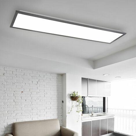Panel de estructura en forma rectangular panel de techo de aluminio blanco grafito ultraplano plafón muy brillante, LED 24 vatios 1500 lúmenes 3000K blanco cálido, L x An x Al 80x20x7,5cm, pasillo de oficina