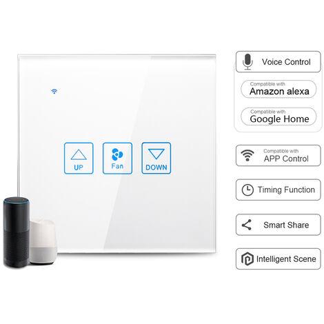 Panel de interruptor tactil de ventilador inteligente Wi-Fi, control de voz, blanco, 1 cuadrilla