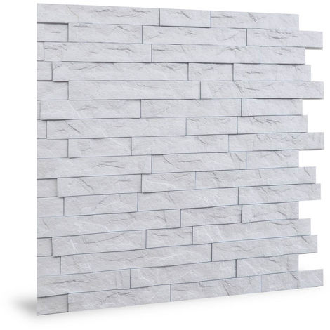 Panel de pared 3D Profhome 3D 704447 Ledge Stone Matte White Panel decorativo gofrado de aspecto piedra brillante blanco 2 m2