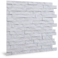 Panel de pared 3D Profhome 3D 704447 Ledge Stone Matte White Panel decorativo gofrado de aspecto piedra brillante blanco 2 m2