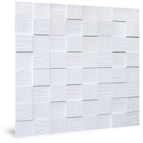 Panel de pared 3D Profhome 3D 704498 Harmony Cubes Wood Grain White Panel decorativo gofrado de aspecto madera mate blanco 2,2 m2