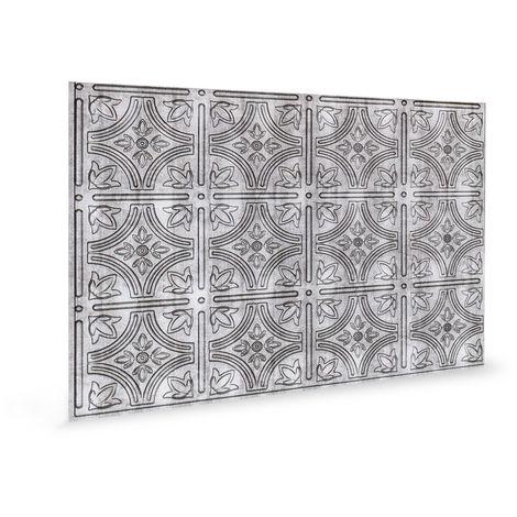 Panel de pared 3D Profhome 3D 705216 Empire Crosshatch Silver Panel decorativo gofrado diseño vintage brillante plata 1,7 m2