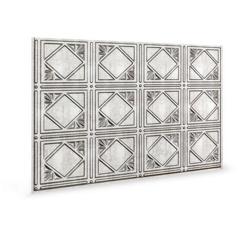 Panel de pared 3D Profhome 3D 70563 Artnouvo Crosshatch Silver Panel decorativo gofrado diseño vintage brillante plata 1,7 m2