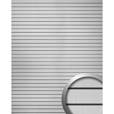 Panel de pared adhesivo WallFace 18585 RIGATO aspecto metal cepillado resistente a la abrasión bandas transversales color plata junturas negras 2,60 m2