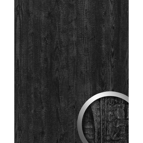 Panel de pared aspecto madera WallFace 20224 CARBONIZED WOOD liso Revestimiento mural used look mate autoadhesivo resistente a la abrasión gris gris-antracita 2,6 m2