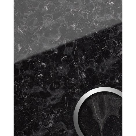 Panel de pared aspecto mármol WallFace 19341 MARBLE BLACK Revestimiento mural liso de aspecto piedra natural brillante autoadhesivo negro gris 2,6 m2