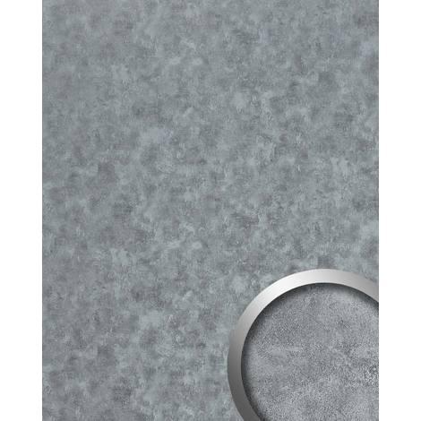 Panel de pared aspecto metal WallFace 20189 OXIDIZED Platin AR liso Revestimiento mural diseño vintage brillante autoadhesivo resistente a la abrasión platino gris 2,6 m2