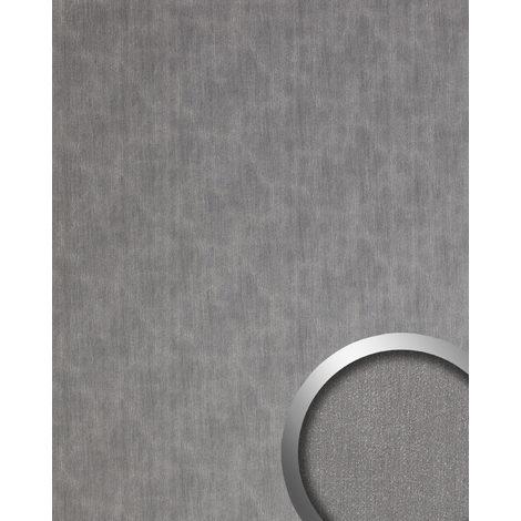 Panel de pared aspecto metal WallFace 20202 SLIGHTLY USED Titan AR liso Revestimiento mural used look cepillado autoadhesivo resistente a la abrasión plata gris 2,6 m2