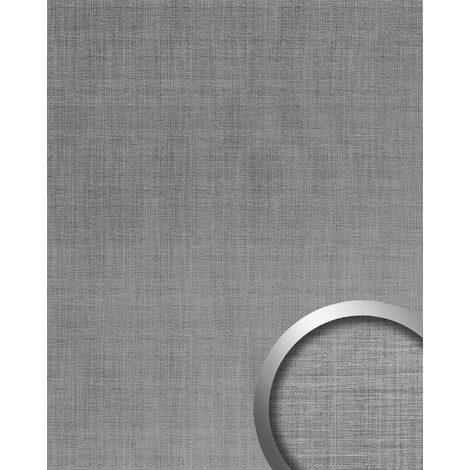 Panel de pared aspecto metal WallFace 20203 Refined Metal Silver AR liso Revestimiento mural de aspecto metal cepillado brillante autoadhesivo resistente a la abrasión plata gris-plata 2,6 m2