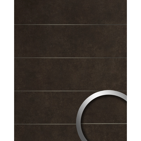 Panel de pared aspecto piedra natural WallFace 19102 CERAMIC BROWN 8L Panel decorativo aspecto piedra con cintas metálicas mate autoadhesivo marrón pardo-negruzco 2,6 m2