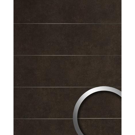 Panel de pared aspecto piedra natural WallFace 19102 CERAMIC BROWN 8L Panel decorativo aspecto piedra con cintas metálicas mate autoadhesivo marrón pardo-negruzco 2,6 m2