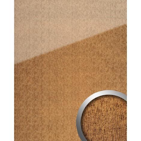 Panel de pared aspecto vidrio WallFace 20214 CURVED Gold AR+ liso Revestimiento mural de aspecto cuero extra brillante autoadhesivo resistente a la abrasión oro marrón-dorado 2,6 m2