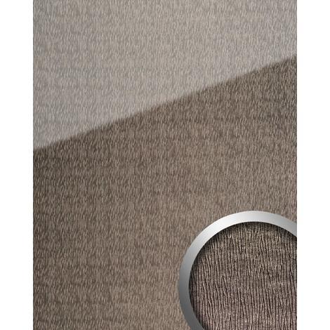 Panel de pared aspecto vidrio WallFace 20215 CURVED Silver AR+ liso Revestimiento mural de aspecto cuero extra brillante autoadhesivo resistente a la abrasión gris plata 2,6 m2